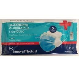 Mascherine chirurgiche di tipo II monouso made in italia 5 pz