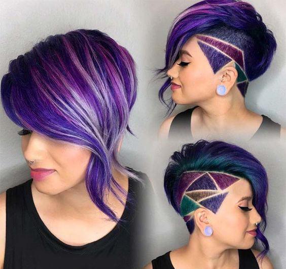 Tagli di capelli corti e colorati