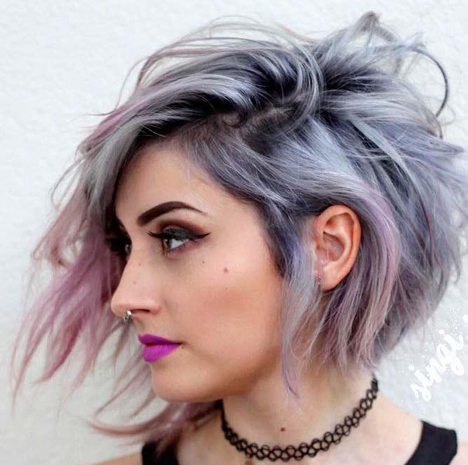 taglio capelli colore argento
